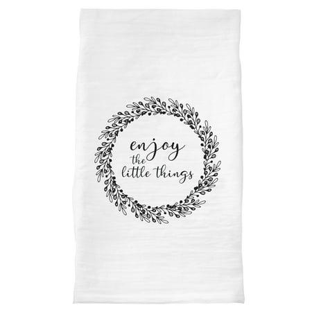 "Enjoy The Little Things - 30""x30"" Dish Towel - 100% Cotton, White"