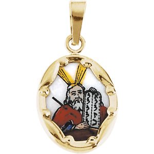 Paint Porcelain Jewelry - Jewels By Lux 14K Yellow Gold 13x10mm Moses Hand-Painted Porcelain Medal