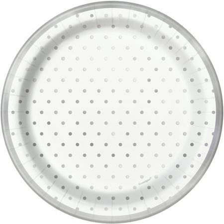 Foil Elegant Silver Polka Dot Paper Dessert Plates, 7 in,