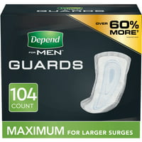 Depend Incontinence Guards/Bladder Control Pads for Men, Maximum, 104 Count (2 Packs of 52)