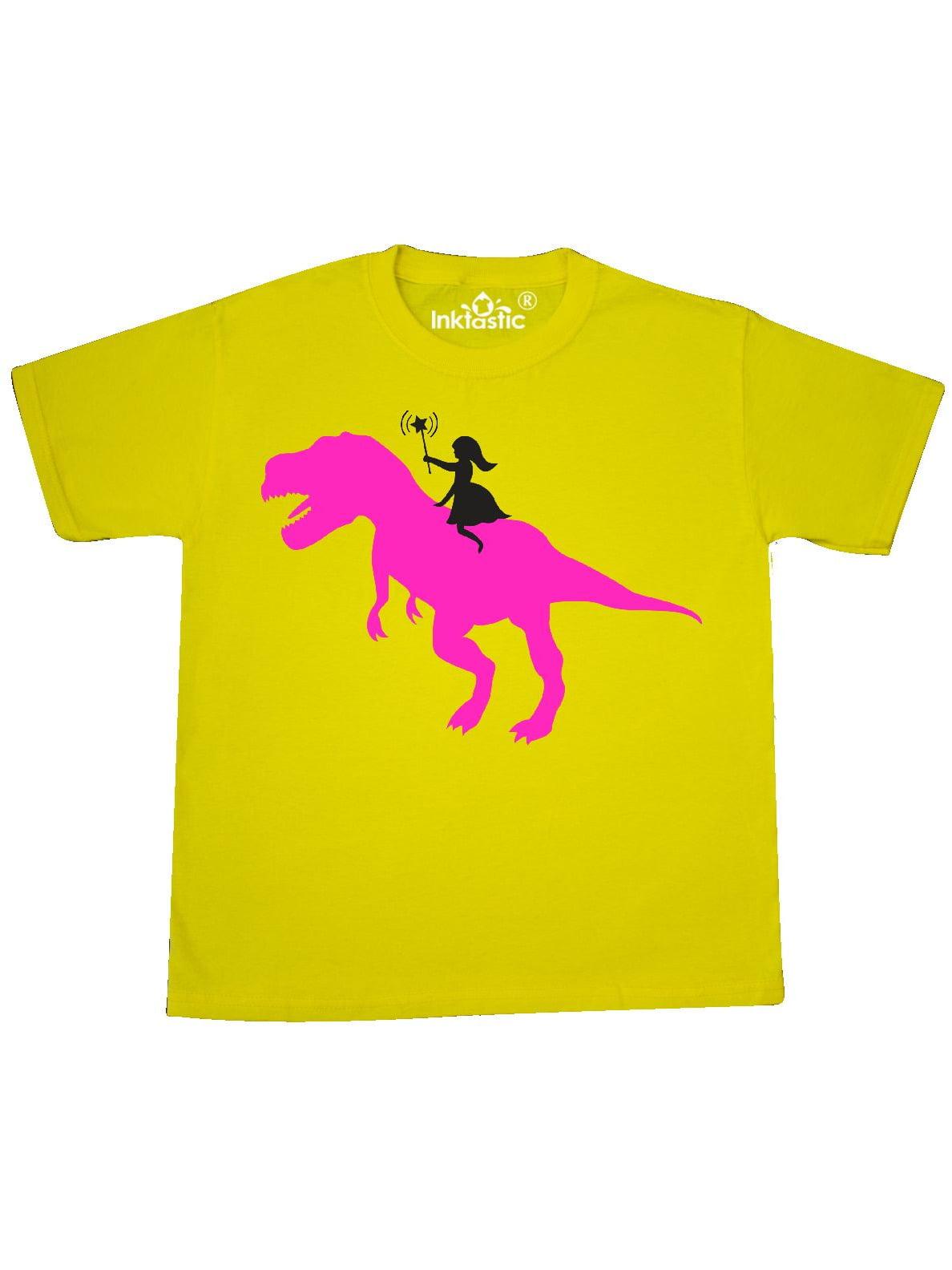 Princess riding her T-Rex Youth T-Shirt