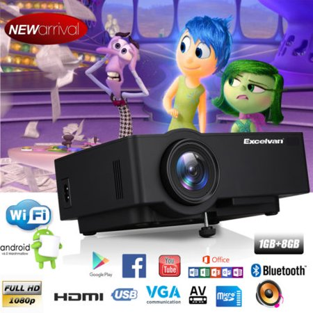 Android 6.0.1 Multimedia Home Theater Projector 1200 Lumens 1GB+8GB E09 Support Full HD 1080P 4K Video With HDMI/USB/AV/VGA/TF Card
