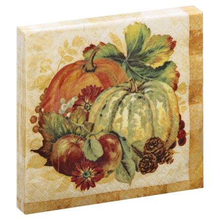 Pumpkin Beverage Napkins - Pumpkin Harvest Fall Paper Beverage Napkins, 5 in, 16ct