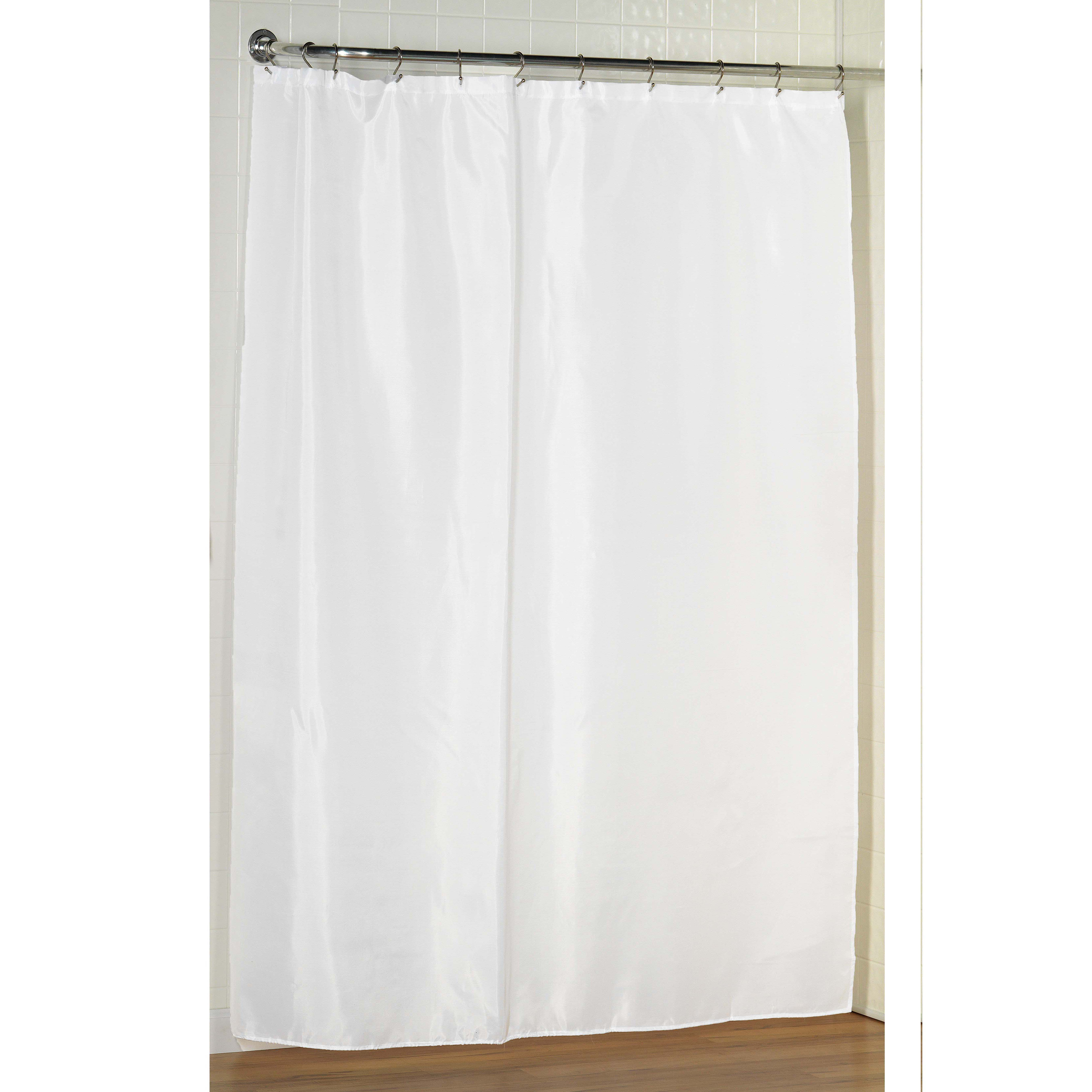 Ivory Extra Long Fabric Shower Curtain Weighted Hem Water