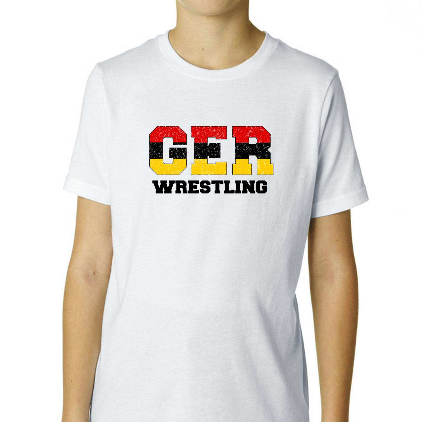 Germany Wrestling Olympic Games Rio Flag Boy's Cotton Youth T-Shirt by Hollywood Thread