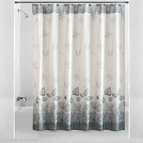 Mainstays Silver Leaves Shower Curtain Walmart Com