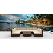 Urban Furnishing Brown Series 9-Piece Modern Modular Outdoor Wicker Patio Sofa Set