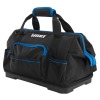 HART 16-inch Hard Bottom Tool Bag, Waterproof Base, Black and Blue
