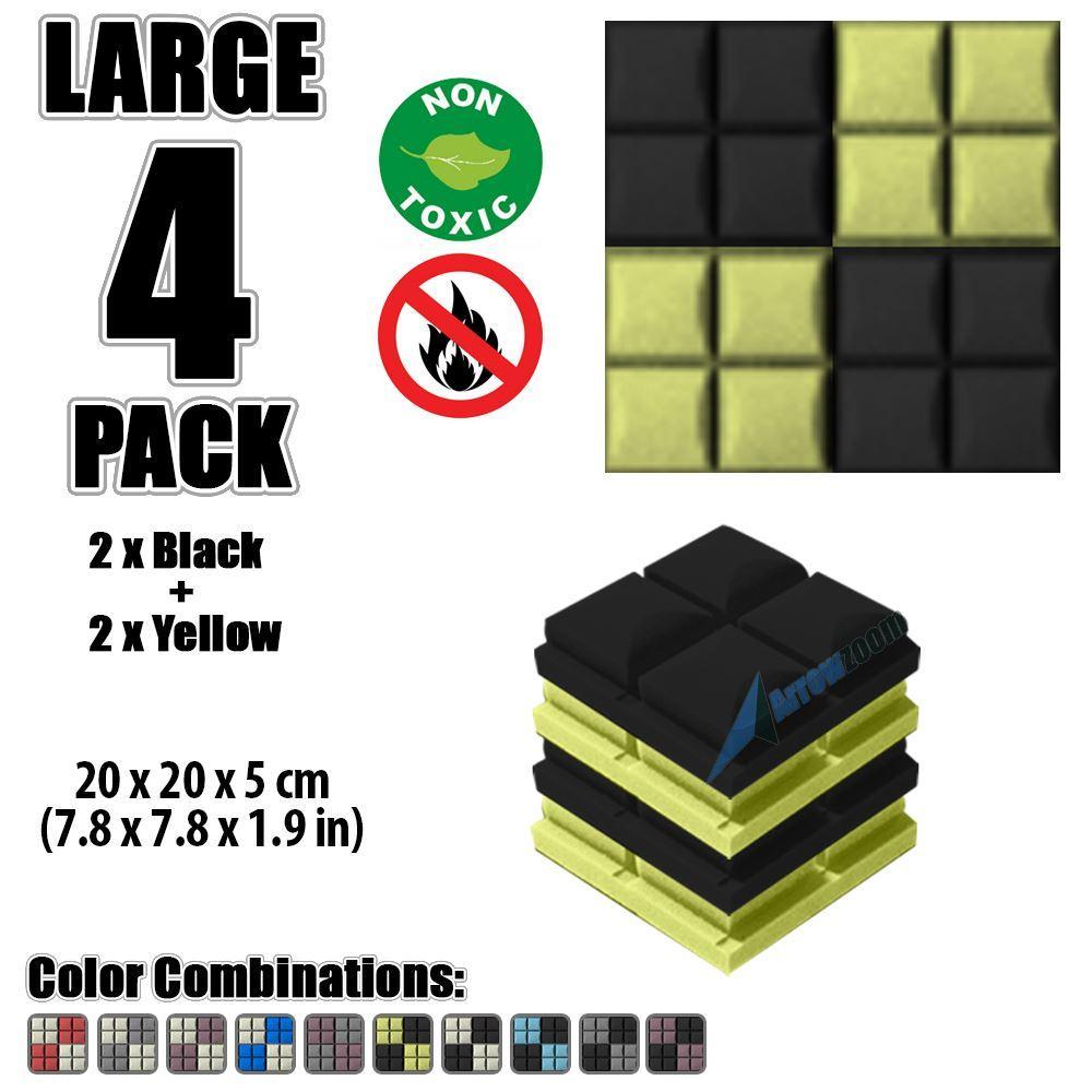 "Arrowzoom New Black and Yellow 7.8"" x 7.8"" x 1.9"" Hemisphere Grid Tile Acoustic Studio Sound Absorption Foam, 4-pcs"