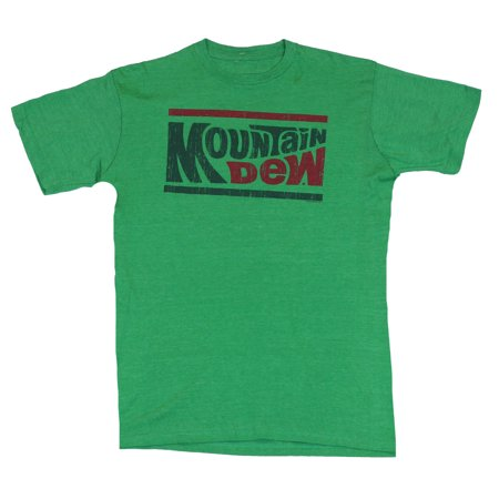 Mountain Dew Mens T-Shirt  - Red and Green Wording 70s - 70s Clothing For Sale