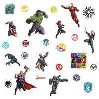 Classic Avengers Peel and Stick Wall Decals Thor, Iron Man, Captain America, Black Panther 26 Marvel Stickers