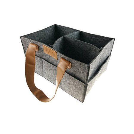 DANHA Gray Felt Diaper Storage Caddy With Leather Handles - Changing Table Storage - Felt Baskets