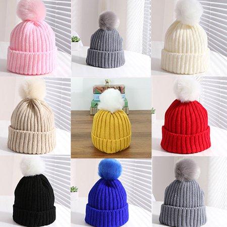 7eec7cfeb08 Girl12Queen - Moderna Kids Children Boy Girl Winter Warm Knit Beanie Hat  Beret Crochet Cap with Fluffy Ball - Walmart.com