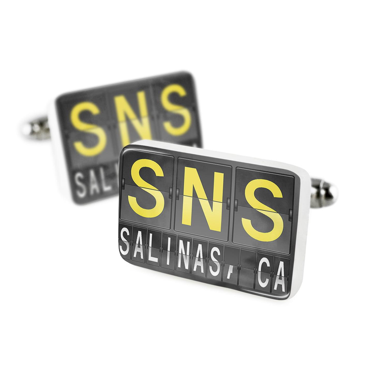 Cufflinks SNS Airport Code for Salinas, CAPorcelain Ceramic NEONBLOND