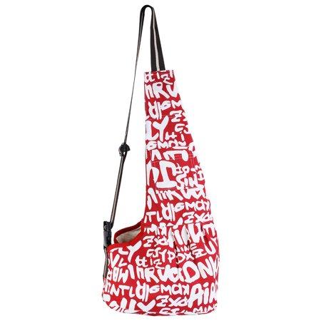 CBD Durable Oxford Cloth Zipper Closure Pet Dog Cat Carrier Bag Messenger Bag White on Red Background