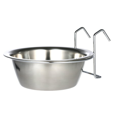 Practical Stainless Steel Hanging Pet Dog Cat Cage Bowl Kennel Coop Cup Bowl for Dog Bird Rabbit