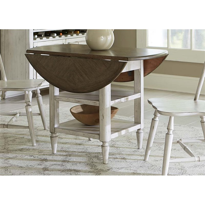 Liberty Furniture Oak Hill Drop Leaf Dining Table In Antique White