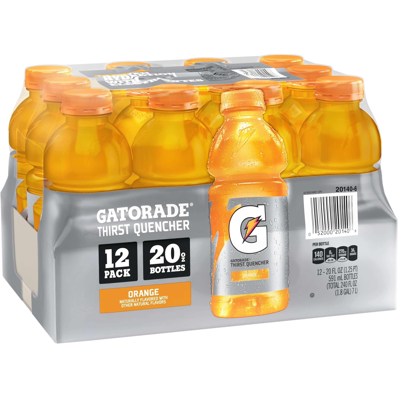 (2 Pack) Gatorade Sports Drink, Orange, 20 Fl Oz, 12 Ct