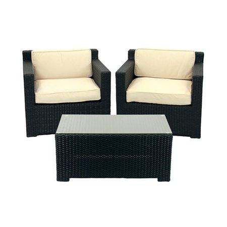 3 piece black resin wicker outdoor patio furniture set for Outdoor furniture 3 piece