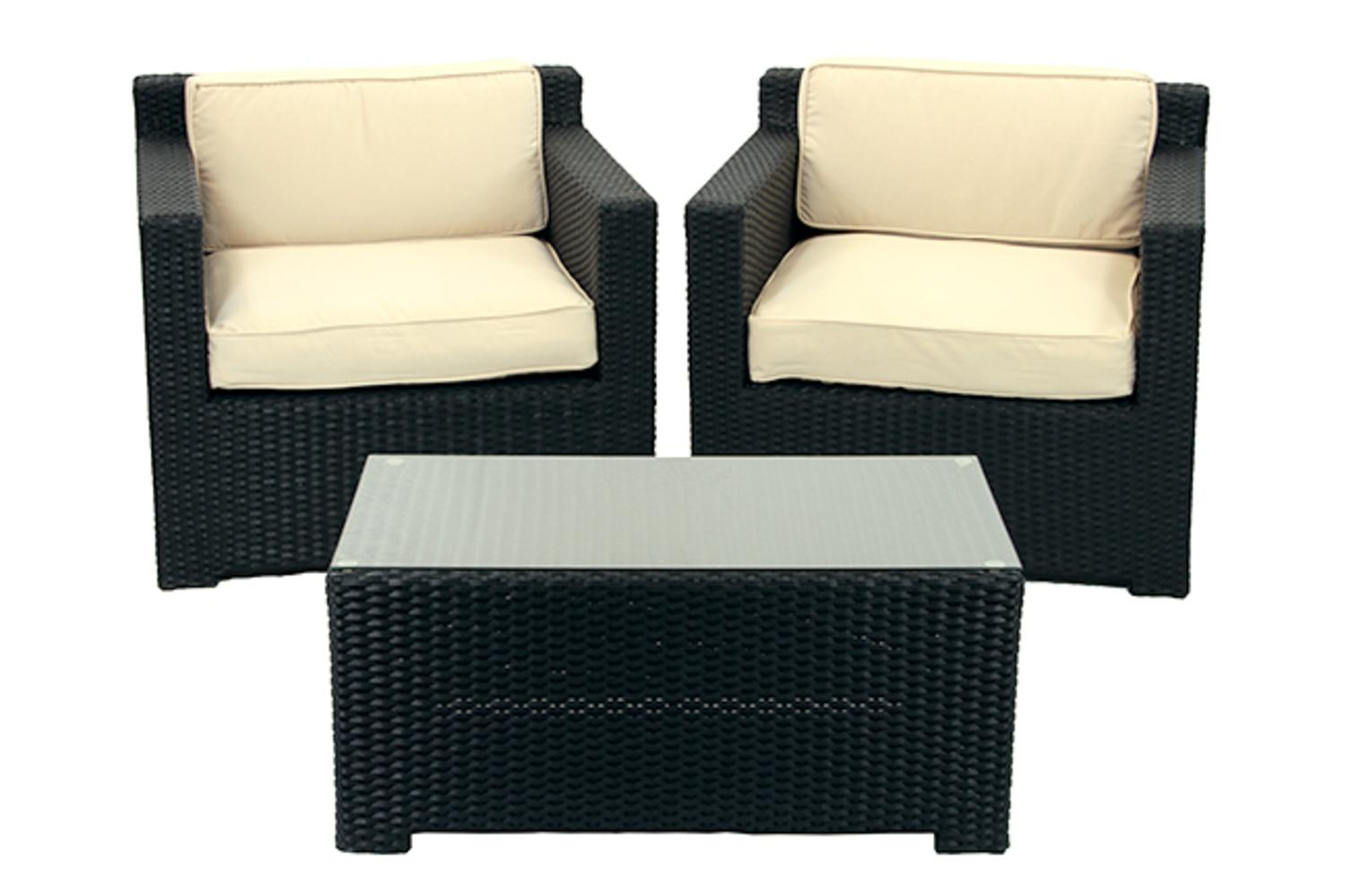 3 Piece Black Resin Wicker Outdoor Patio Furniture Set   Beige Cushions