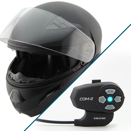 Hawk Xfz 9000 Flat Black Modular Helmet With Hawk Com 2 Bluetooth Intercom