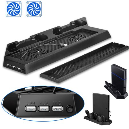 Dual Vertical Ps4 Controller Charging Stands & 2 Electric Cooling Fans for Playstation 4 / slim Dualshock 3 USB Hubs
