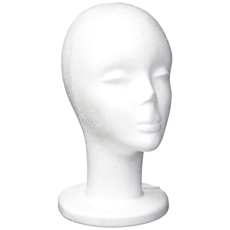 Foam Wig Heads - 2 Pack - Mannequin Wig Holder Stands, Female Face, White, 6.5 x 11.5 x 7.7