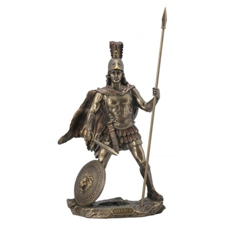 13 Inch Mars - Roman God of War with Spear Cold Cast Bronze Figurine - Roman Spear