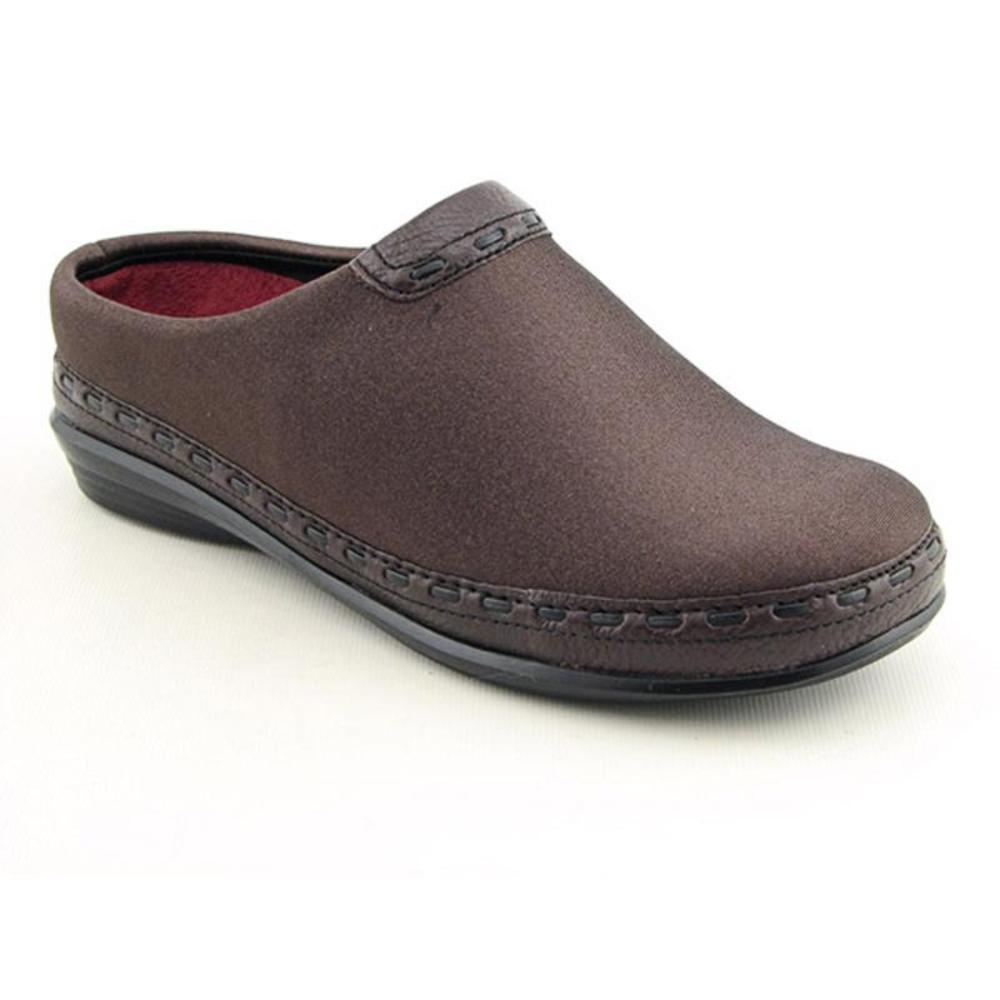 Berries By Aetrex Berries Women Round Toe Canvas Brown Clogs by Berries By Aetrex