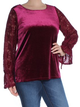 KENSIE Womens Burgundy Crushed Velvet Bell Cuff Long Sleeve Crew Neck Top  Size: L