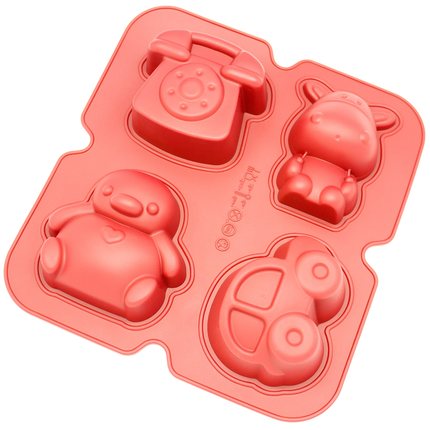 Freshware  4-cavity Penguin, Hippo, Toy Car and Telephone Silicone Mold