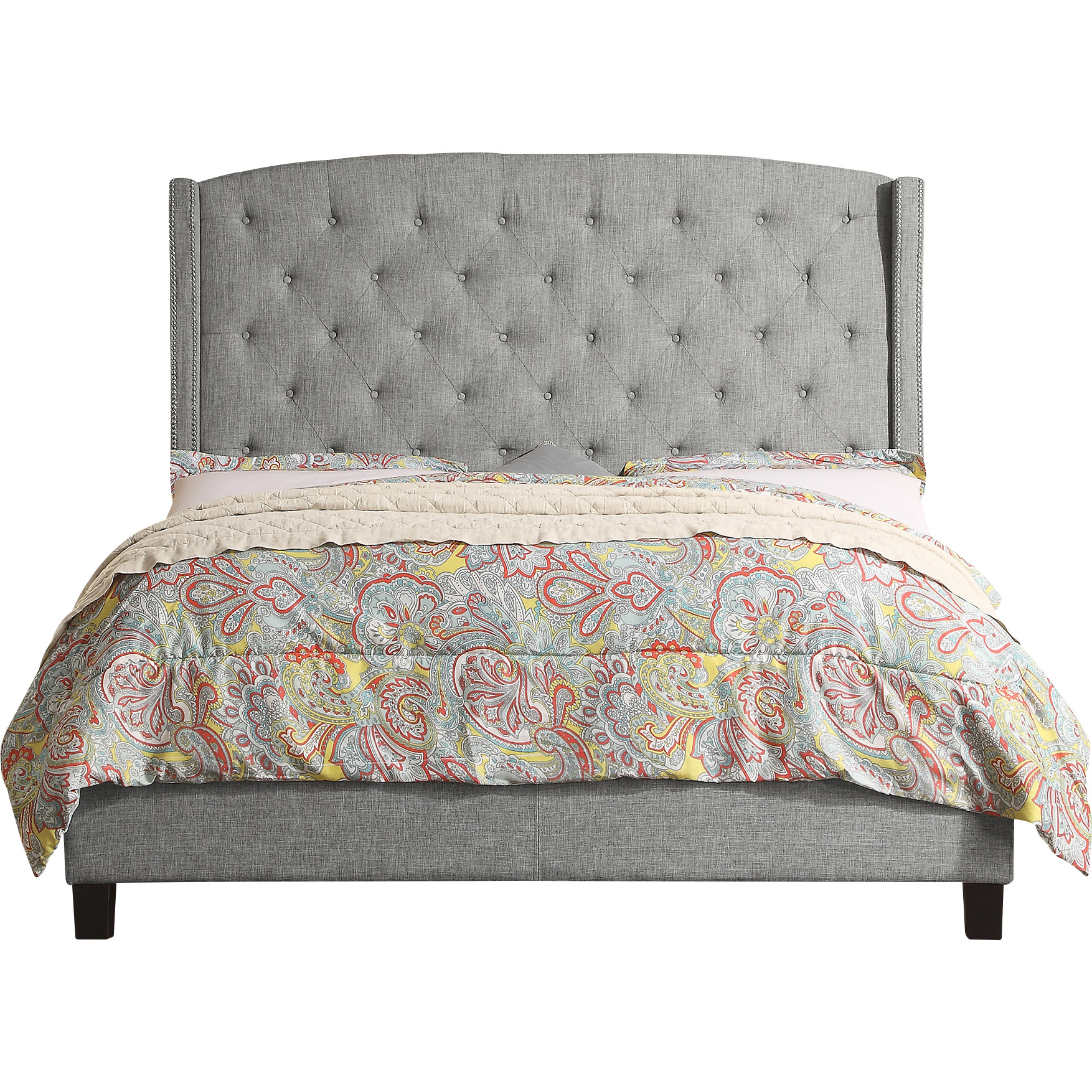 Alton Furniture Lucia King Upholstered Panel Bed, Gray by Fully Wind Co, Ltd.