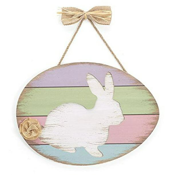 Burton Wood Wall Hanging Or Sign White Easter Bunny On Pastel Colors Wood Planks Walmart Com Walmart Com