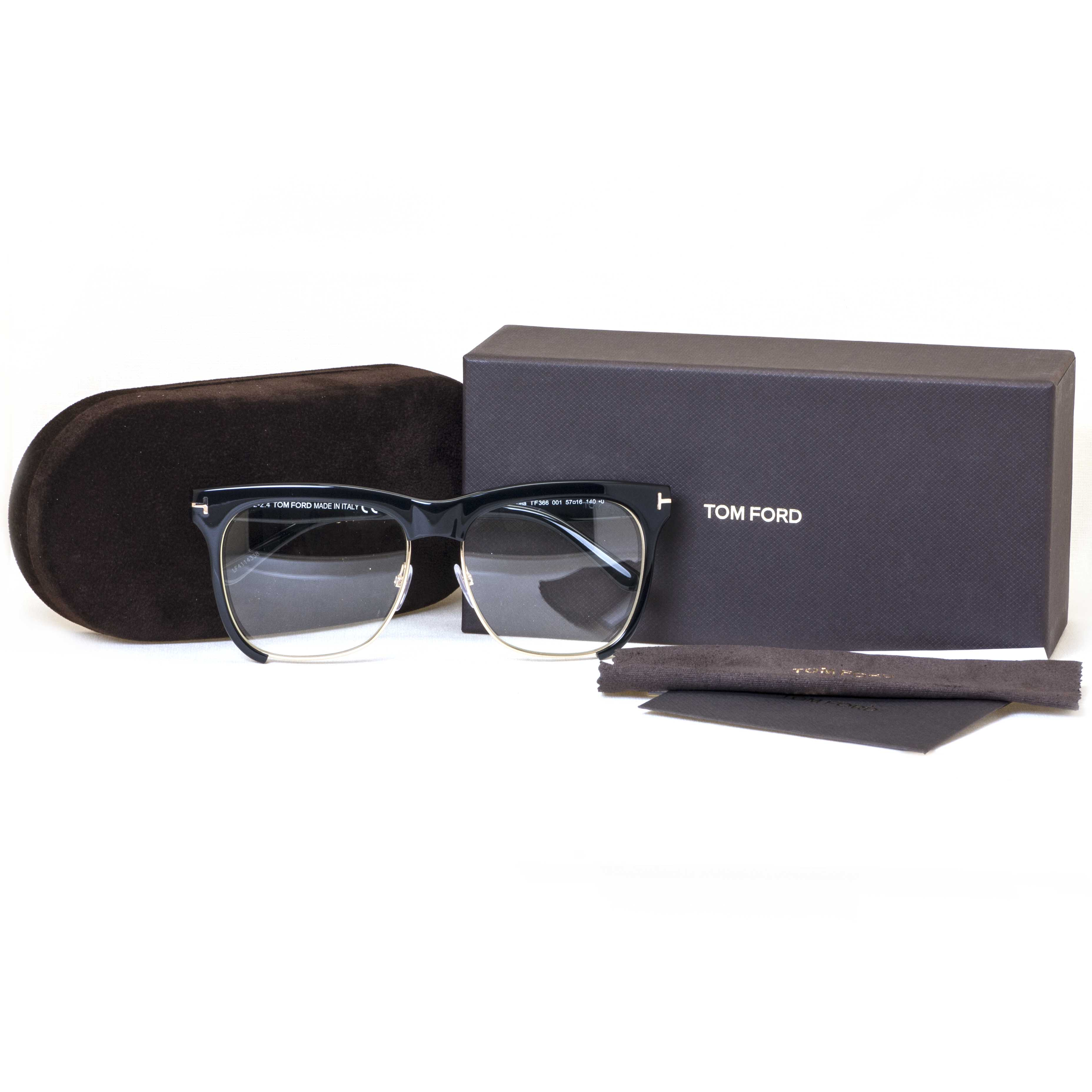 226cc48ec312 Tom Ford - Tom Ford TF 366 001 Shiny Black Gold Frames Square Women s  Eyeglasses 57mm - Walmart.com