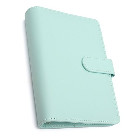 A6 6-Ring Loose Leaf Binder Notebook Leather Cover Agenda Planner Ring Binder Leather Travel Agenda