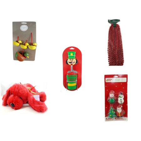 Christmas Fun Gift Bundle [5 Piece] - Martha Stewart Woodland  Set of 4 Duck Ornaments -  Time Red Beaded Garland 18' Feet - Nutcracker Wine Bottle Opener -  Pals Soft & Cuddly Red  Dog  10