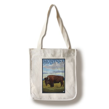 Montana, Last Best Place - Bison - Lantern Press Original Poster (100% Cotton Tote Bag -