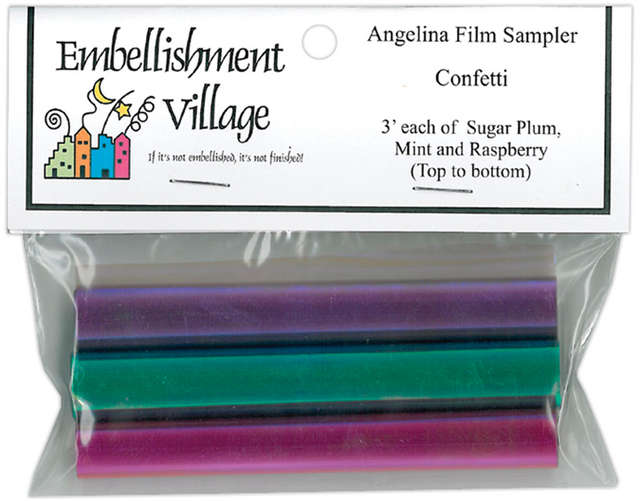 "Angelina Film Sampler 4""X3' 3/Pkg-Confetti - Raspberry, Mint & Sugar Plum"