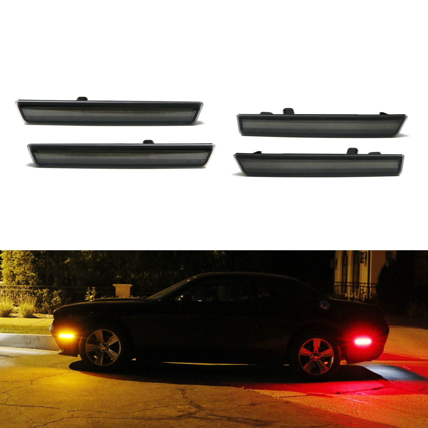iJDMTOY (4) Smoked Lens Front & Rear Side Marker Lights with 180-SMD LED Diodes For 2015-2018 Dodge Challenger (Front: Amber LED, Rear: Red LED)