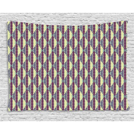 Retro Tapestry, Abstract Ethnic in Vibrant Geometric Hexagon Forms Vintage Design, Wall Hanging for Bedroom Living Room Dorm Decor, 60W X 40L Inches, Light Yellow Cadet Blue Purple, by Ambesonne