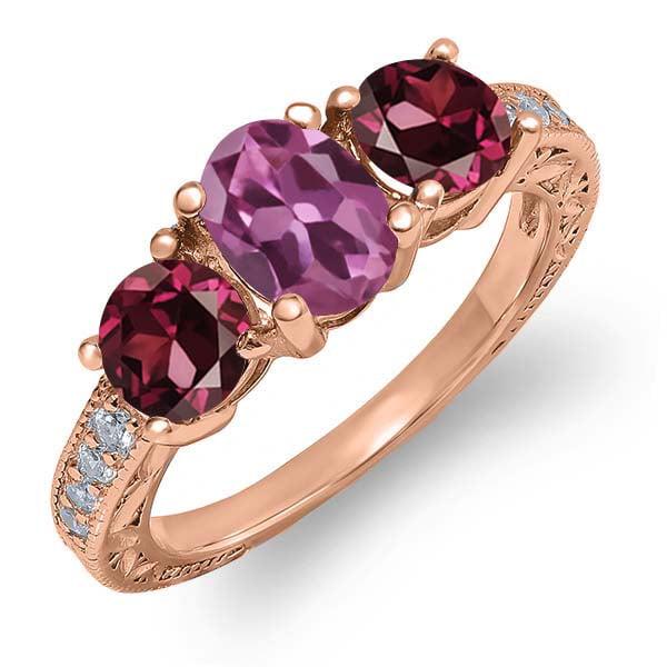 2.25 Ct Oval Pink Tourmaline Red Rhodolite Garnet 18K Rose Gold Ring by