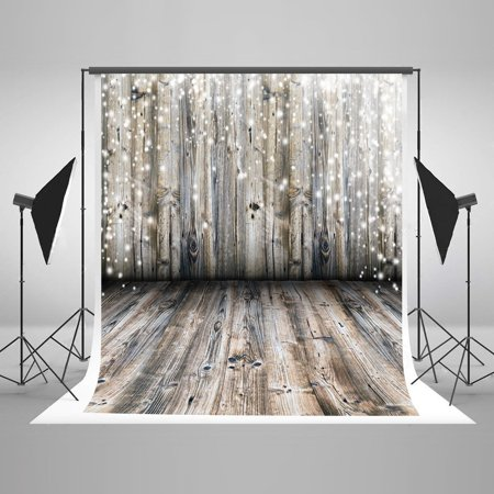 HelloDecor Polyester Fabric 5x7ft Wood Wall Floor Photography Backdrops Starlight Lighting Gloss Spot Glitter sparkling Backgroud Backdrop Photo props Adults Kids