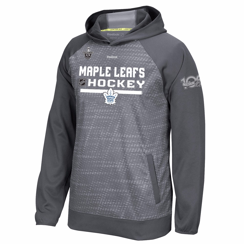 Toronto Maple Leafs NHL Reebok Grey Center Ice TNT Team Logo Speedwick Performance Pullover Hoodie For Men by Reebok