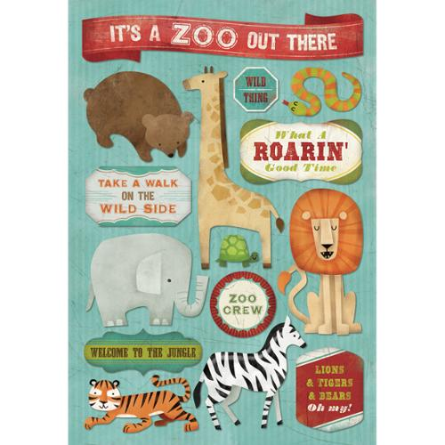 "Zoo Cardstock Stickers 5.5""X9""-It's A Zoo Out There!"