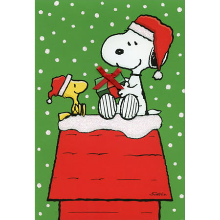 Hallmark Snoopy Woodstock Gift Exchange: Peanuts Christmas Card - Snoopy Gift