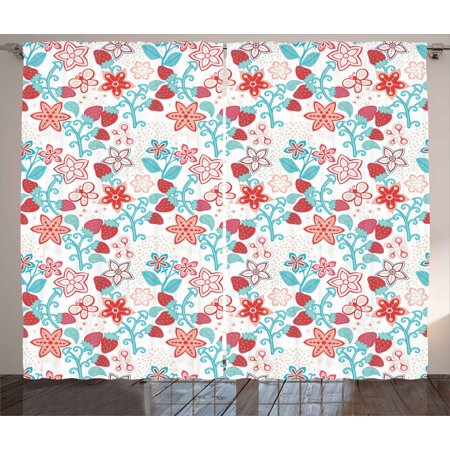 Floral Curtains 2 Panels Set, Cute Flowers Ladybugs Butterflies Strawberries Kids Nursery Playroom Pattern, Window Drapes for Living Room Bedroom, 108W X 108L Inches, Dark Coral Aqua, by (Ladybug Nursery Set)