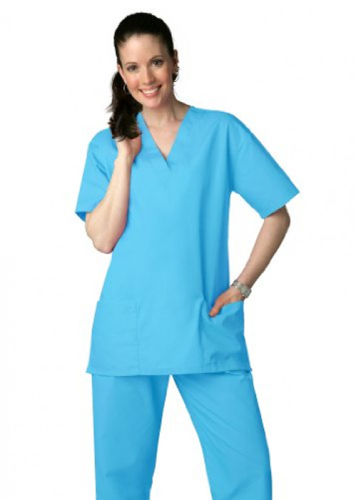 Adar Universal Unisex Drawstring Scrub Set (Available in 39 colors) - 701 - Turquoise - L