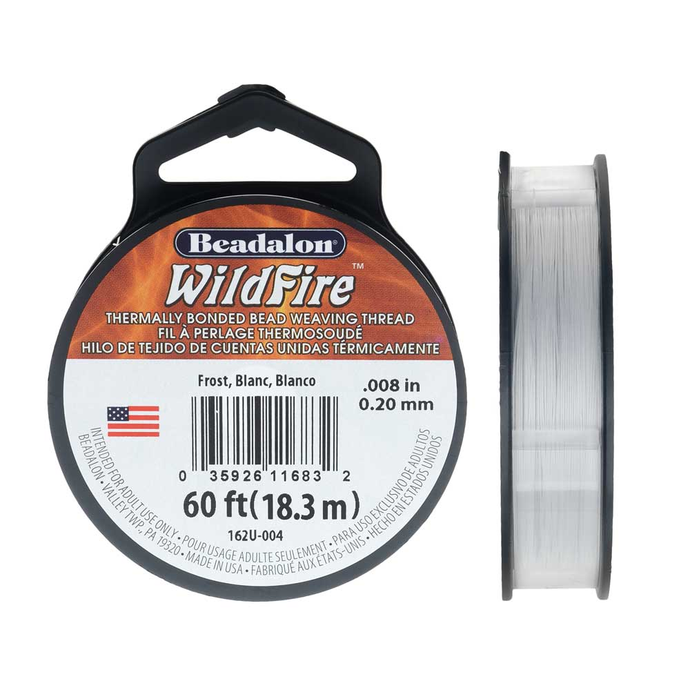 Wildfire Thermal Bonded Beading Thread, .008 Inch Thick, 20 Yard Spool, Frost / White