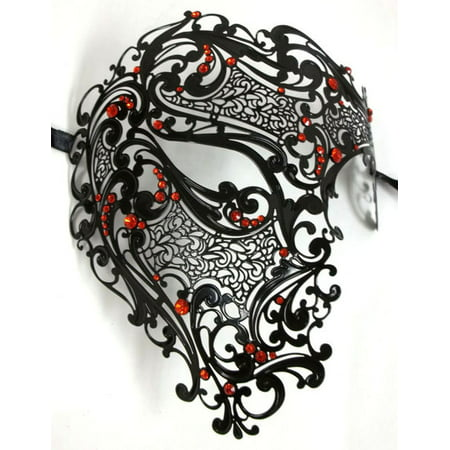 Black Red Phantom Laser Cut Venetian Mask Masquerade Metal Men Skull Filigree - Man Masquerade Masks
