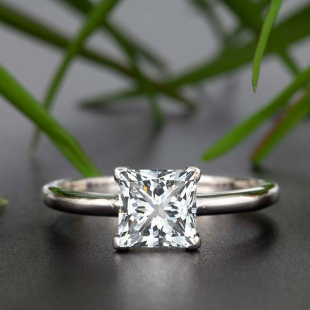 1 Carat Princess Cut Moissanite and Diamond Engagement Ring in 18k White Gold Over Silver Beautiful Ring